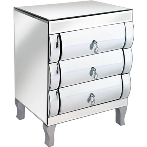 Zion 3 Drawer Chest And Bedside Cabinet In Curved Mi...