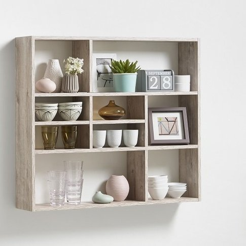 Andreas Wall Mounted Shelving Unit In Sand Oak And 9...