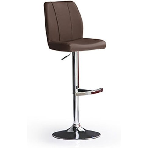 Naomi Brown Bar Stool In Faux Leather With Round Chr...