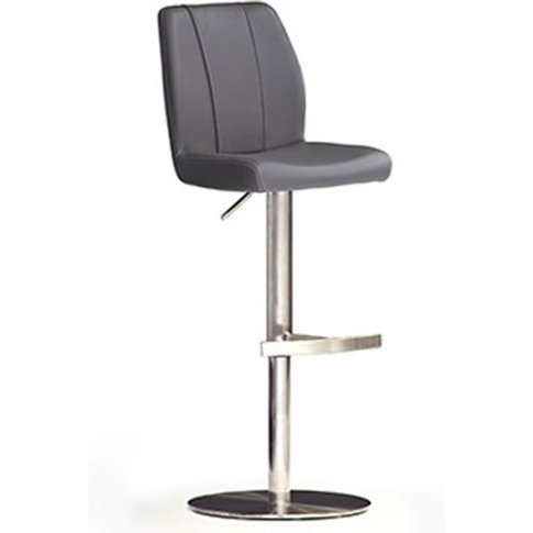 Naomi Grey Bar Stool In Faux Leather With Stainless ...