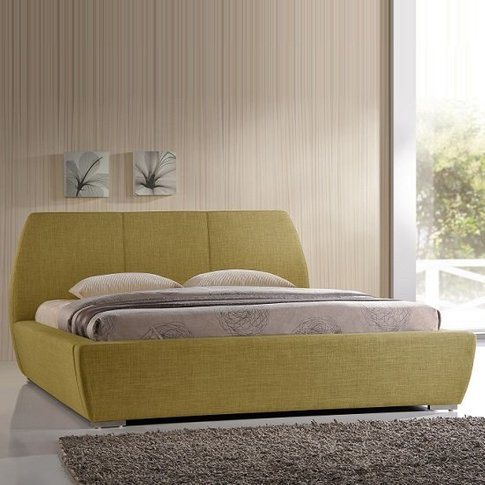 Naxos Contemporary Double Bed In Green Fabric With C...