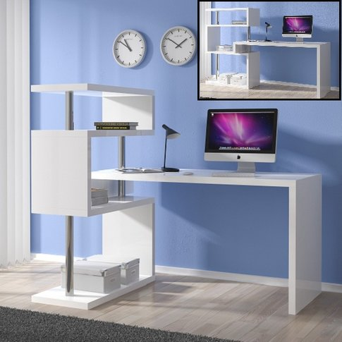 Miami Computer Desk Rotating In White Gloss With She...