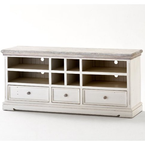 Opal Wooden Tv Cabinet In White Pine With Drawers An...