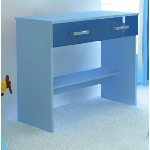 Ottawa 2 Tones Study Desk With 2 Drawers In Blue