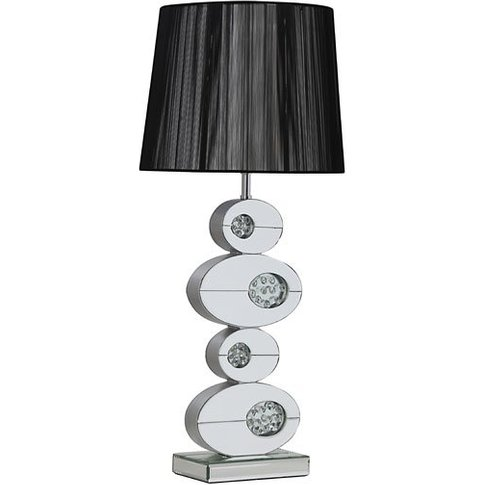 Melissa Table Lamp In Black With Mirrored Base In Si...