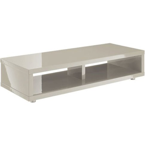 Curio Stone High Gloss Finish Low Board Tv Stand Wit...