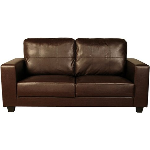 Queensland 3 Seater Sofa In Brown Faux Leather