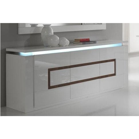 Garde Sideboard High Gloss In White And Walnut With ...