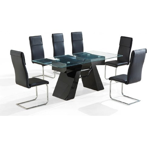 Reno High Gloss Black Clear Glass Top Dining Table A...