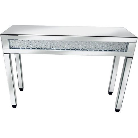 Rosalie Mirror Console Table In Silver With Glass An...