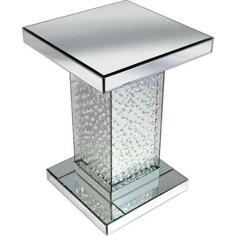 Rosalie Pedestal Side Table In Silver With Glass And...