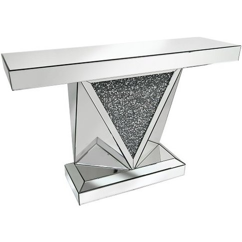 Siloth Mirror Console Table In Silver With Glass Cry...