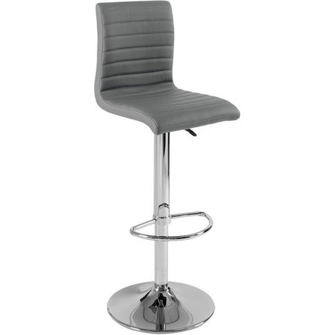 Ripple Bar Stool In Charcoal Grey Faux Leather With ...