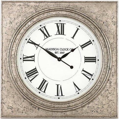 Kiel Wall Clock Square In Silver Marble Effect