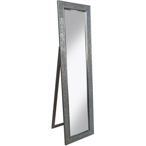 Aliza Floor Standing Cheval Mirror In Silver Mosaic ...