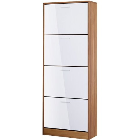 Frances Tall Shoe Cabinet In Walnut Gloss White With...