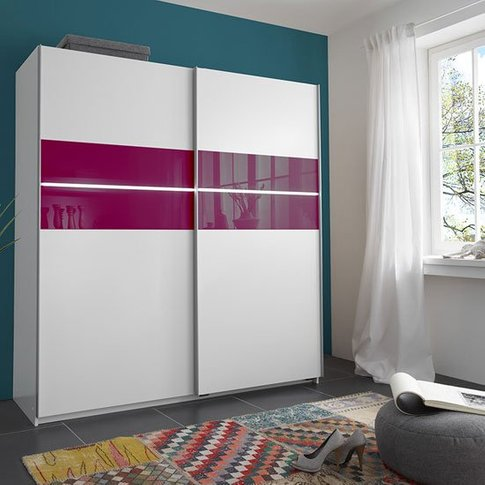 Stylo Sliding Wardrobe In Alpine White With 2 Door A...