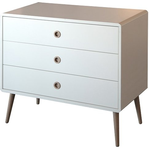Walton Retro Chest Of Drawers In White And Oak With ...