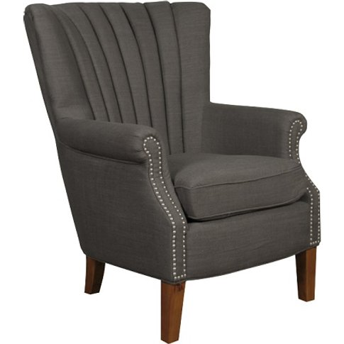 Silon Fabric Armchair In Charcoal And Dark Brown Legs