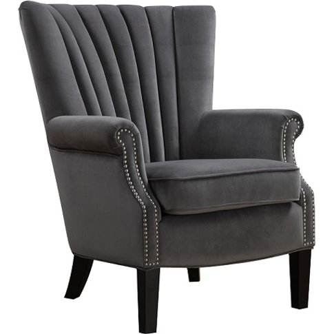 Silon Fabric Armchair In Grey Velvet And Dark Black ...