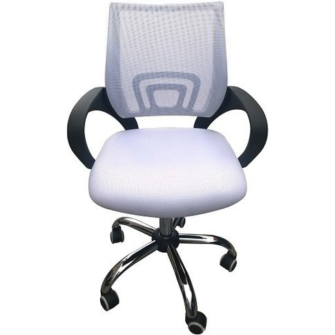Regan Home Office Chair In White With Mesh Back And ...