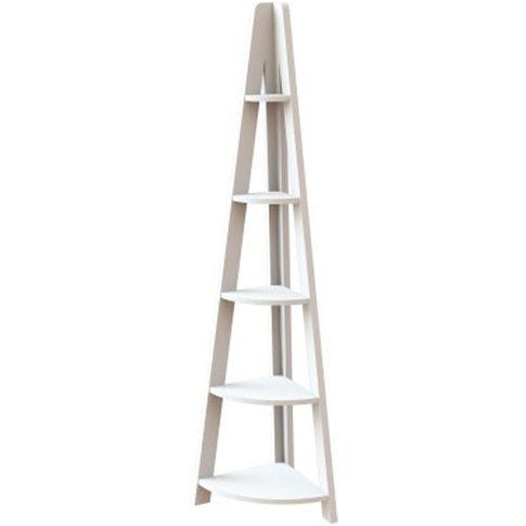Paltrow Corner Shelving Unit In White With Ladder Style