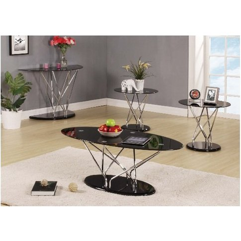 Toulouse Coffee Table In Black Glass With Chrome Sup...