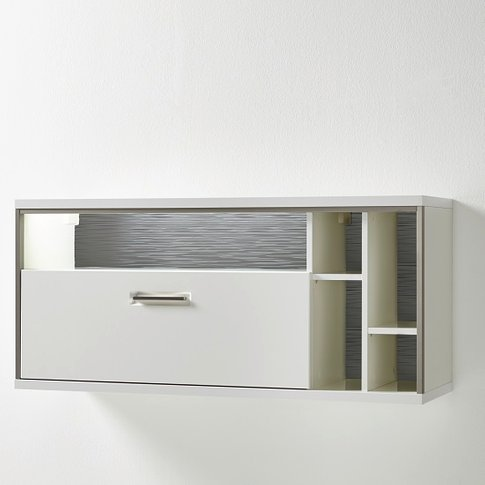 Libya Wall Mounted Display Cabinet In White Gloss Wi...