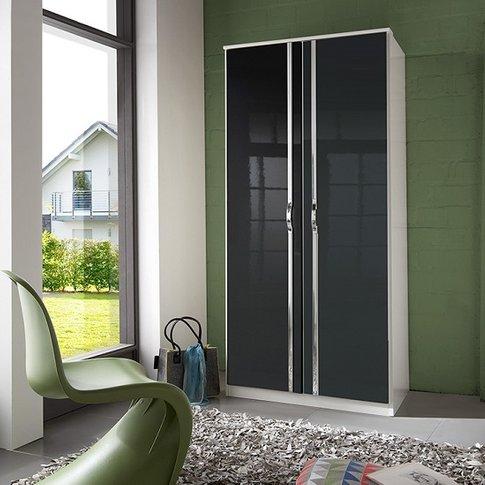 Luton Wardrobe In High Gloss Black Alpine White With...