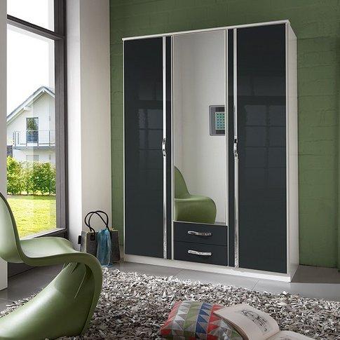 Luton Mirror Wardrobe In Gloss Black Alpine White Wi...