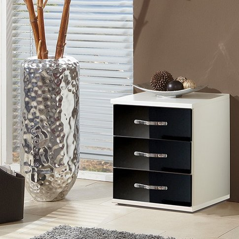 Luton Bedside Cabinet In High Gloss Black And Alpine...