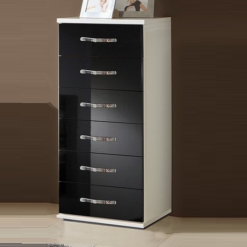 Luton Chest Of Drawers Tall In High Gloss Black Alpi...