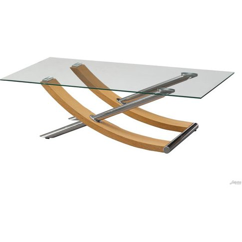 Gemini Coffee Table In Clear Glass Top With Oak And ...