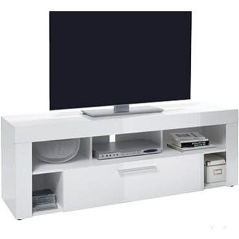 Elista Small Lcd Tv Stand In White High Gloss With 1...