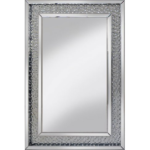 Rosalie Wall Mirror Large In Silver With Glass Cryst...