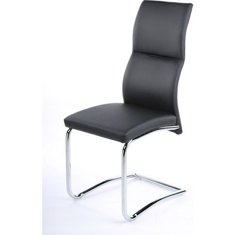 Palma Dining Chair In Black Faux Leather With Chrome...