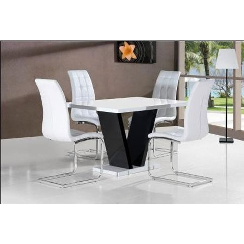 Clara Dining Table In White Gloss With 4 White Dinin...