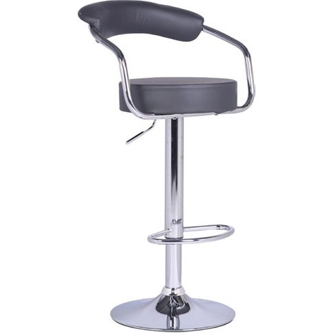 Zenith Bar Stool In Charcoal Grey Faux Leather With ...