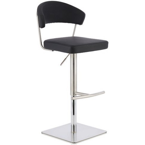 Abilio Bar Stool In Black Faux Leather And Stainless...