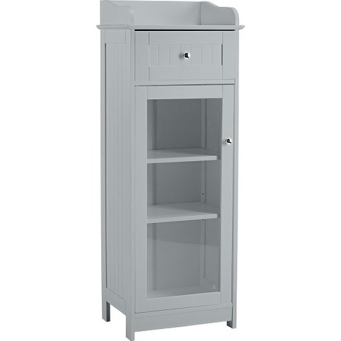 Adamo Bathroom Storage Cabinet In Grey With 1 Glass ...