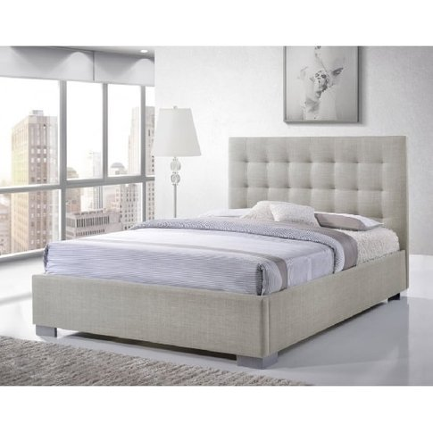 Addison Fabric Double Bed In Sand With Chrome Feet