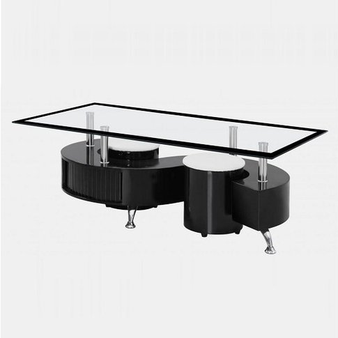 Adelphi Glass Coffee Table In Black High Gloss With ...