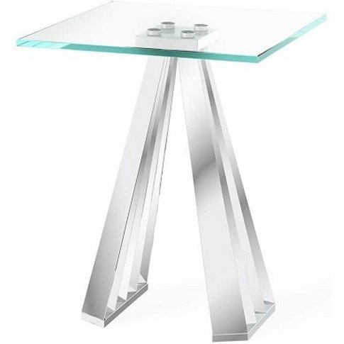 Adkins Clear Glass Side Table With Stainless Steel Base