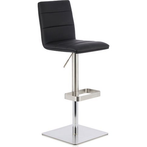 Aerith Bar Stool In Black Faux Leather And Stainless...