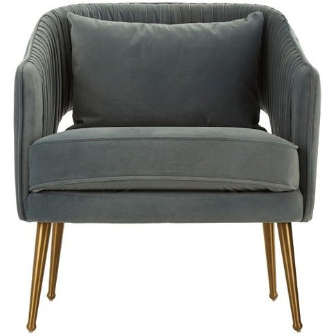 Agneta Velvet Armchair In Blue With Gold Stainless S...