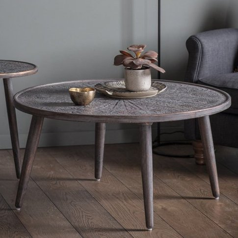 Agra Wooden Coffee Table In Grey Copper