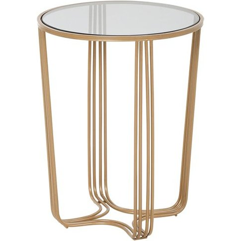 Aida Small Metal Side Table In Gold With Glass Top