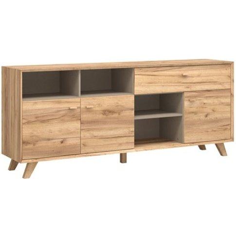 Aiden Wooden Sideboard In Navarra Oak And Stone Grey