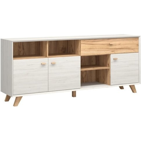 Aiden Wooden Sideboard In White Pine And Navarra Oak