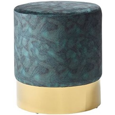 Aix Stool In Peacock Blue Velvet And Gold Plated Sta...